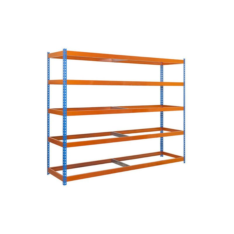 Simonrack - Étagère métallique 5 niveaux - 2000 x 1500 x 750 mm - KIT SIMONFORTE - Bleu - Orange - Bleu / Orange