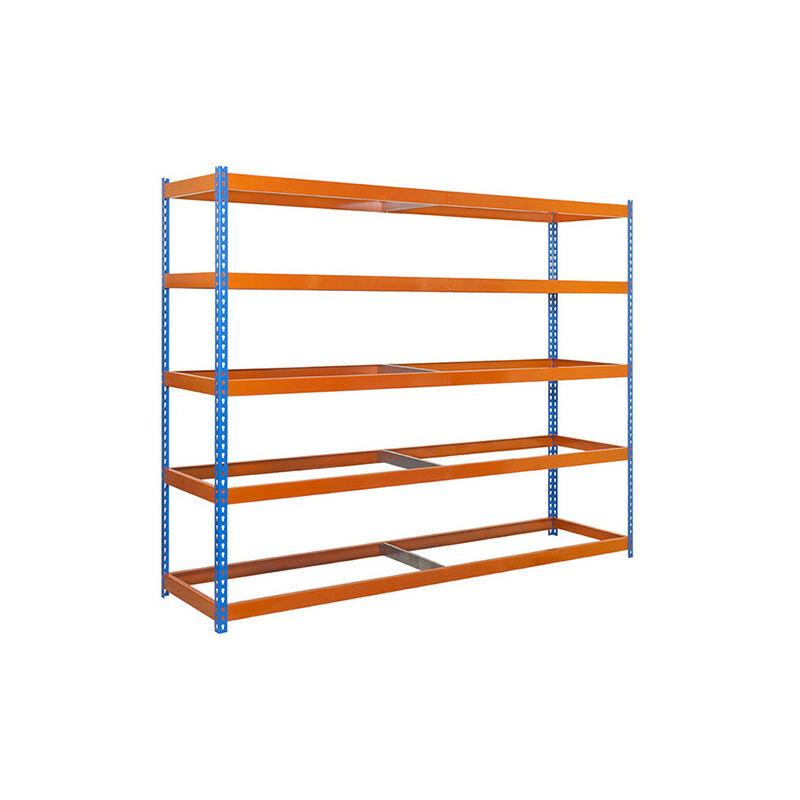 Simonrack - Étagère métallique 5 niveaux - 2000 x 2400 x 750 mm - KIT SIMONFORTE - Bleu - Orange - Bleu / Orange
