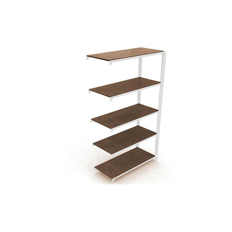 Simonrack - Étagère métallique 5 niveaux - 2100 x 900 x 300 mm - KIT OFFICLICK - WOOD A.M. - Blanc - Wengé - Blanc / Wengé