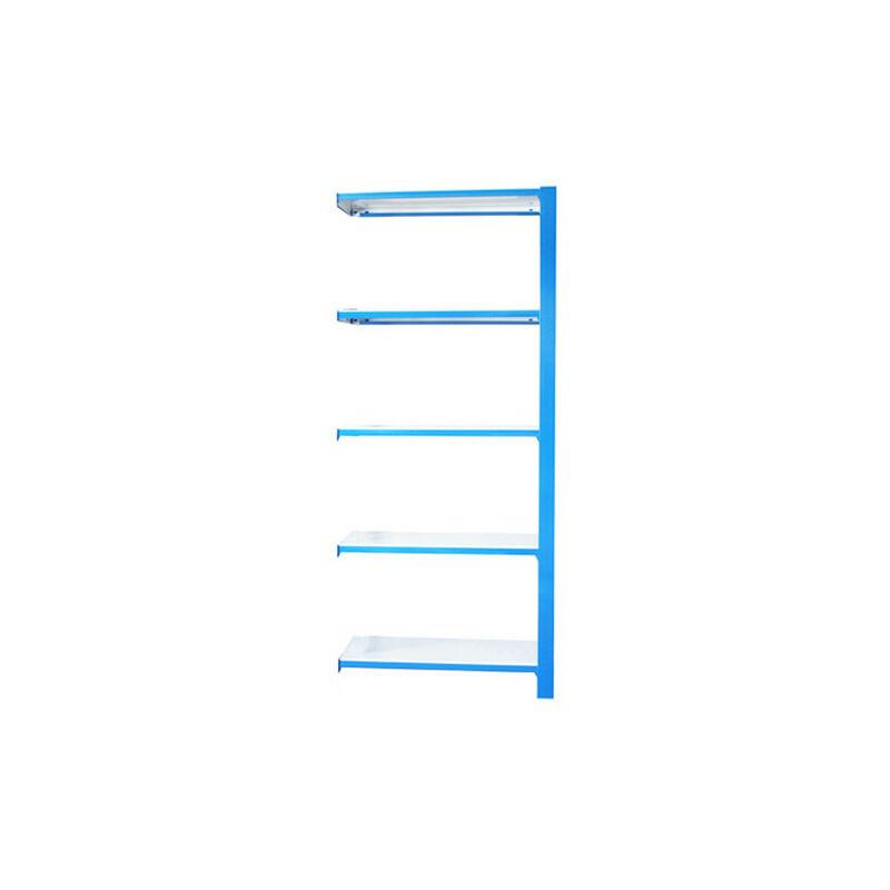 Simonrack - Étagère métallique 5 niveaux - 2100 x 900 x 300 mm - KIT OFFICLICK - WOOD A.M. - Bleu - Blanc - Bleu / Blanc