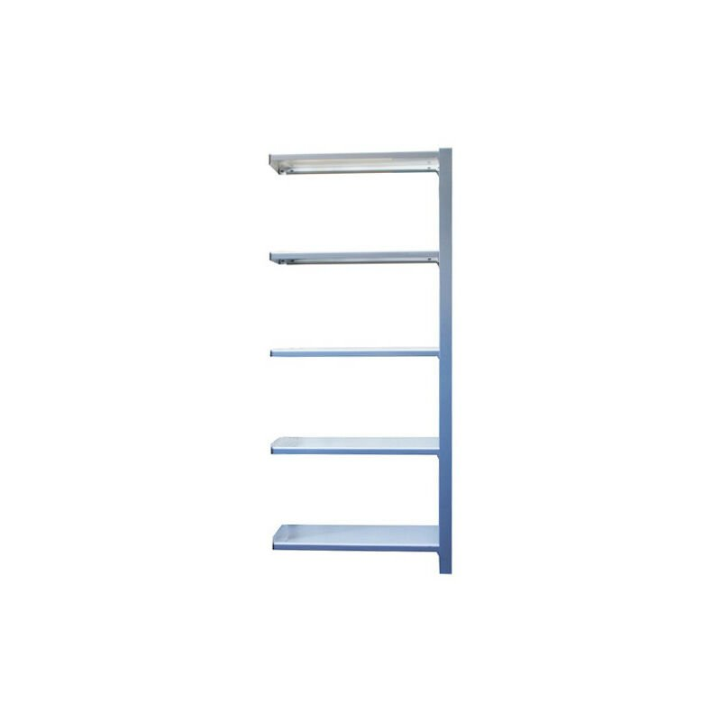 Simonrack - Étagère métallique 5 niveaux - 2100 x 900 x 300 mm - KIT OFFICLICK - WOOD A.M. - Gris - Blanc - Gris / Blanc