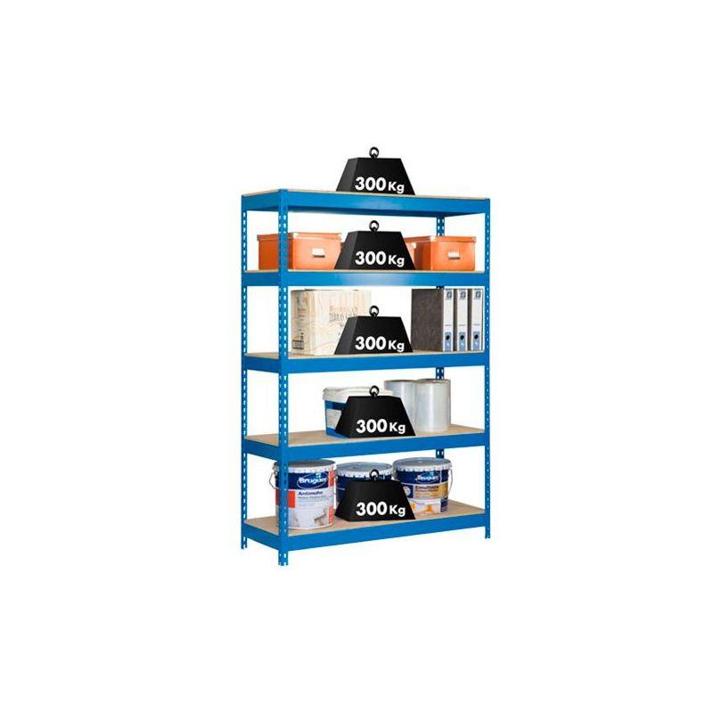Simonrack - Étagère métallique 5 niveaux KIT BRICOFORTE 1006-5 Aggloméré - 2000 x 1000 x 600 mm - Bleu / Bois - 448100040201065 -