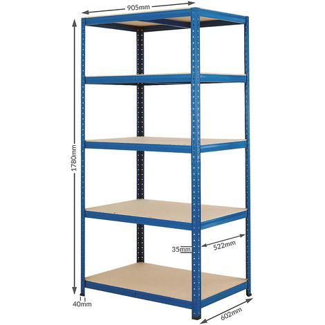 Étagère métallique de stockage – Charge max. par tablette: 200 kg – h x L x P 1780 mm x 900 mm x 600 mm - Coloris montants: bleu