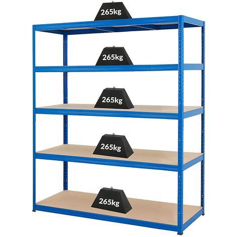 Étagère métallique pour atelier – Charge max. par tablette: 265 kg – h x L x P 1780 mm x 1500 mm x 600 mm - Coloris montants: bleu