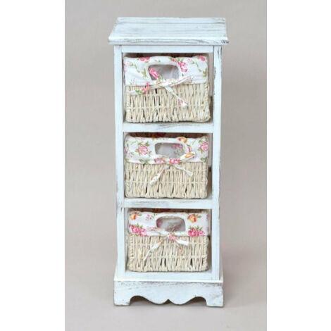Etagère meuble de rangement blanc vintage avec 3 paniers - blante