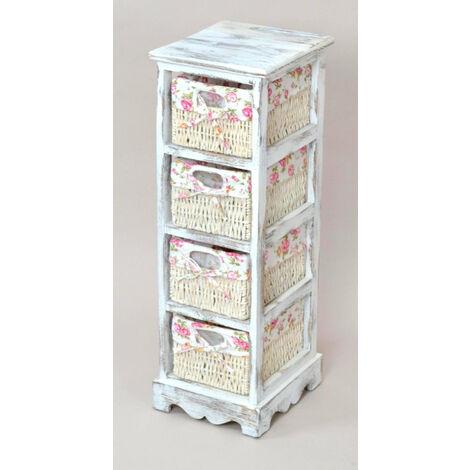 Etagère meuble de rangement blanc vintage avec 4 paniers - blante