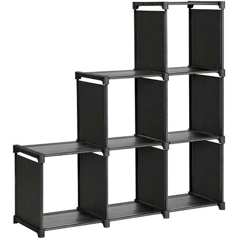 Étagère meuble de rangement escalier 6 casiers noir - Noir