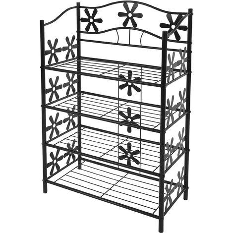 Étagère / meuble de rangement / range-chaussures / bibliothèque Genève, métal, 4 tablettes, H=90cm