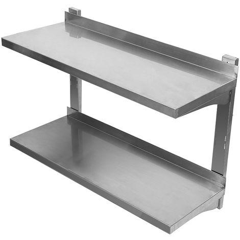 Étagère Meuble stockage Rangement salle de bain en INOX Hauteur réglable Étagère à 2 niveaux - rangement multifonction en métal