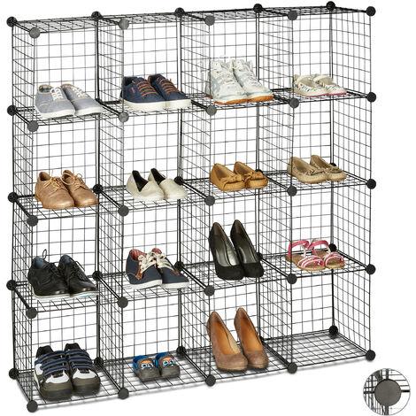Étagère modulable grille treillis 16 cubes compartiments DIY métal meuble rangement 30x30 cm, noir