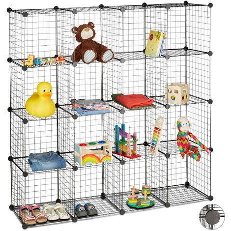Étagère modulable grille treillis 16 cubes compartiments DIY métal meuble rangement 35x35 cm, noir