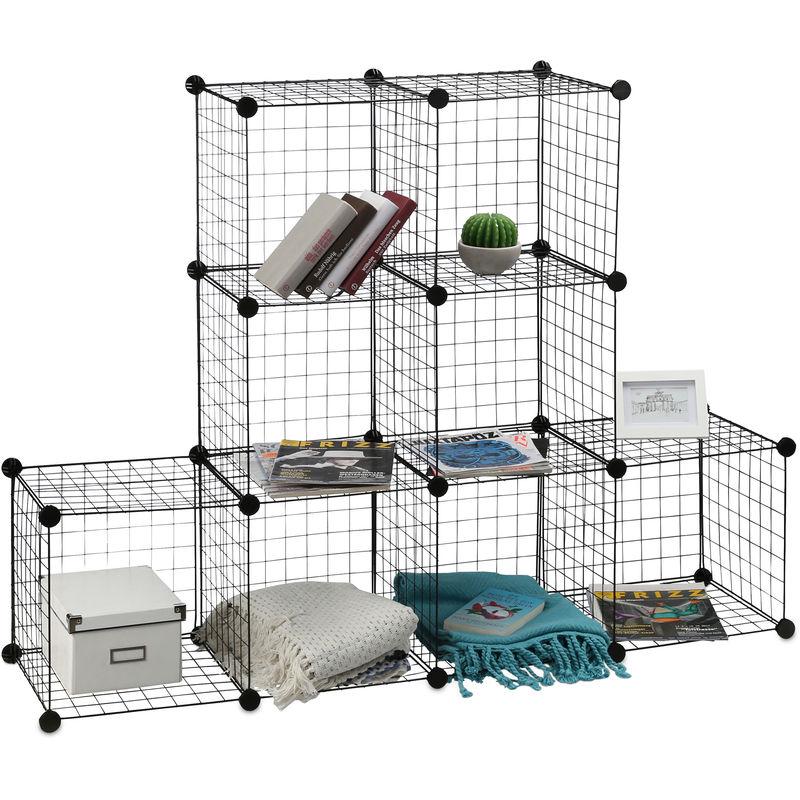 Etagere Modulable Grille Treillis 9 Cubes Compartiments Diy Metal Meuble Rangement Grillage 30x30 Cm Noir 8100245128952881