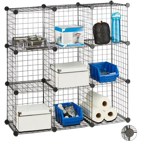 Étagère modulable grille treillis 9 cubes compartiments DIY métal meuble rangement grillage 30x30 cm, noir