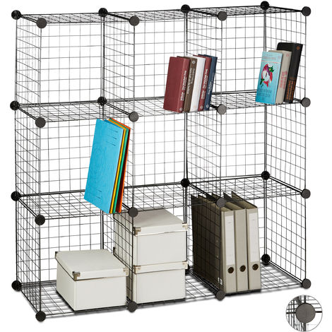 Étagère modulable grille treillis 9 cubes compartiments DIY métal meuble rangement grillage 35x35 cm, noir