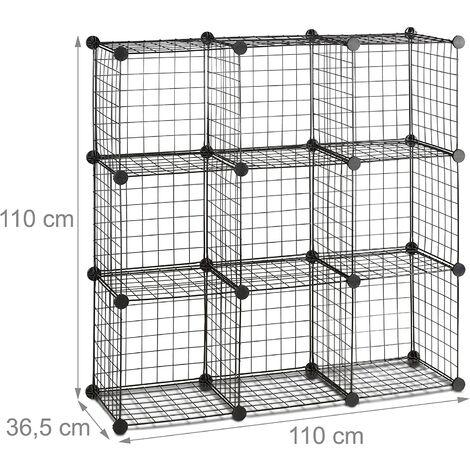 Étagère modulable grille treillis 9 cubes compartiments métal meuble rangement grillage 35x35 cm noir - Métal