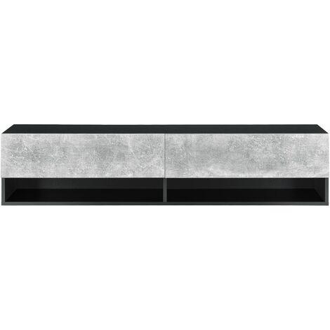 Étagère murale 2 portes meuble support TV rangement 140 cm noir effet béton - Noir