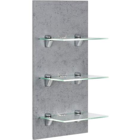 Étagère murale à Led SANTINI Aspect Béton avec 3 tablettes en verre