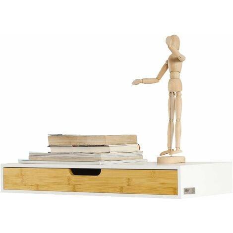 Étagère murale avec tiroir en bois et bambou, Armoire à clés, Porte-clés Meuble d'entrée de rangement L60xP24xH8cm FRG93-WN SoBuy®