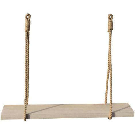 Étagère murale bois et corde 60 X 10