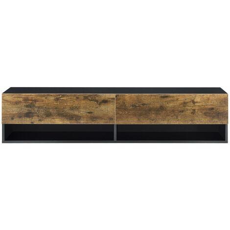 Étagère murale design à 2 portes meuble support tv rangement 140 cm noir chêne foncé - Noir