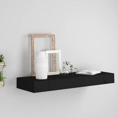 étagère murale flottante avec tiroir Noir 80x25x8 cm