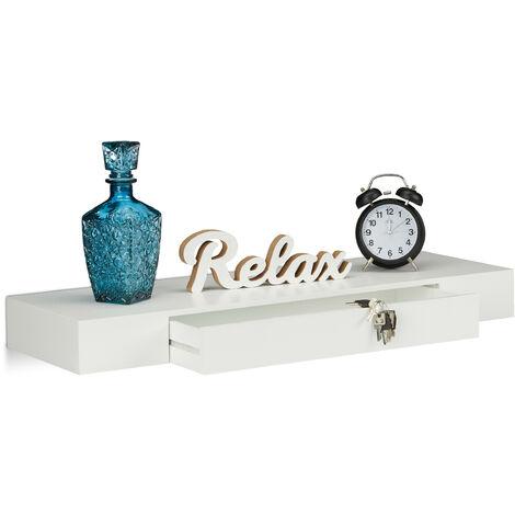 Étagère murale flottante avec tiroir plateau suspendu moderne design décoration salon 25 cm, blanc