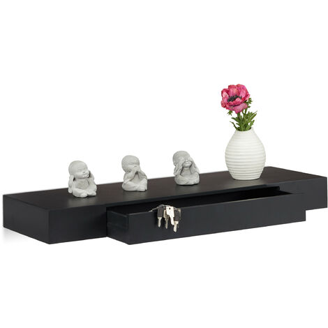 """main image of """"Étagère murale flottante avec tiroir plateau suspendu moderne design décoration salon 25 cm, noir"""""""