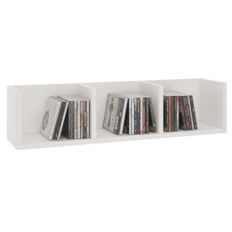 Etagère murale NELLO, meuble de rangement pour CD et DVD ou décoration avec 3 compartiments ouverts, en mélaminé blanc mat