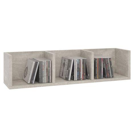 Etagère murale NELLO, meuble de rangement pour CD et DVD ou décoration avec 3 compartiments ouverts, en mélaminé décor béton