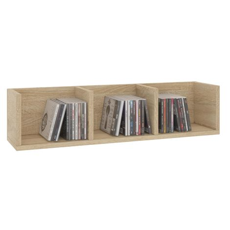 Etagère murale NELLO, meuble de rangement pour CD et DVD ou décoration avec 3 compartiments ouverts, en mélaminé décor chêne sonoma