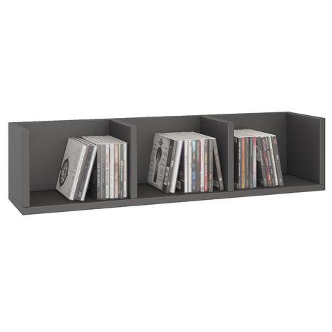 Etagère murale NELLO, meuble de rangement pour CD et DVD ou décoration avec 3 compartiments ouverts, en mélaminé gris mat