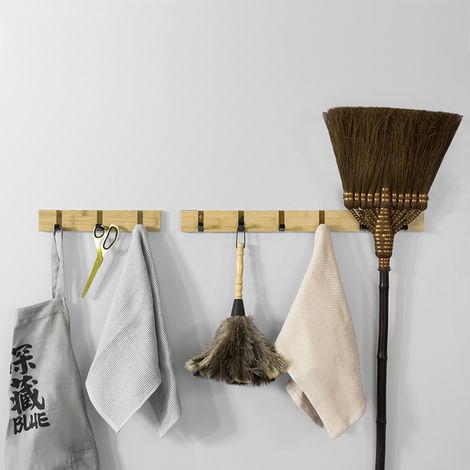 Étagère Murale Porte-Manteau Porte-Serviette Mural en bambou avec 3 Crochets en Fer FHK14-N SoBuy®