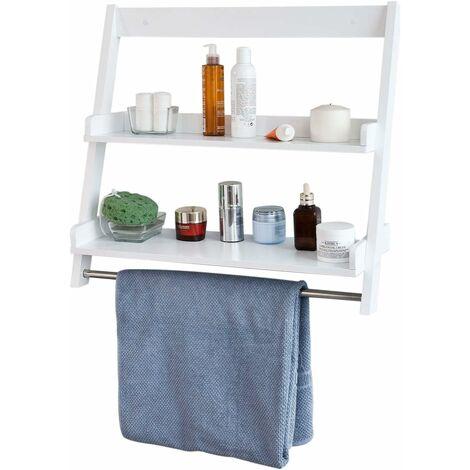 Etagère murale Porte-serviettes salle de bain toilettes avec 2 tablettes et 1 barre FRG117-W SoBuy®