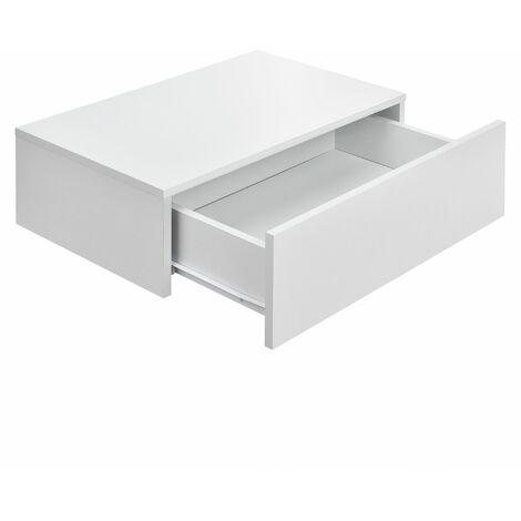 Étagère murale pour chambre à coucher avec 1 tiroir 46 cm blanc mat - Blanc