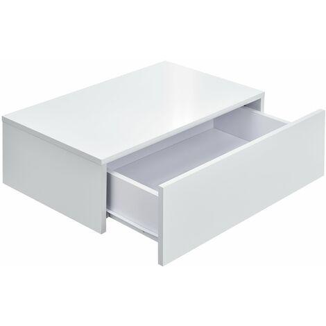 Étagère murale pour chambre à coucher avec 1 tiroir laqué 46 cm blanc - Blanc