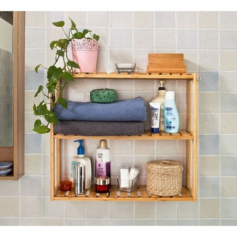 Etagère Murale Salle De Bain Toilettes En Bambou, Meuble De Rangement  Cuisine, 3 Niveaux Avec 2 ...