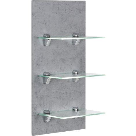 Étagère murale SANTINI Aspect Béton avec 3 tablettes en verre
