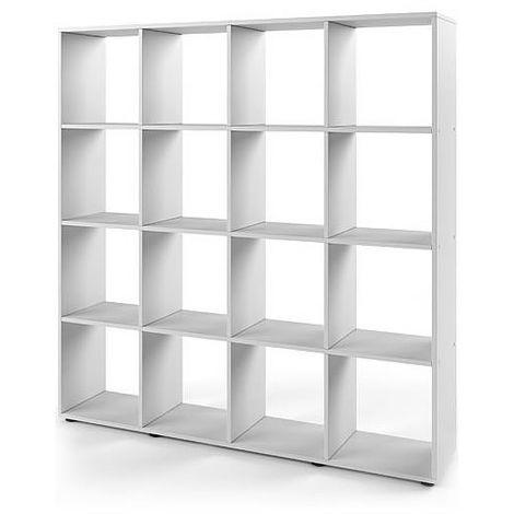 """main image of """"Étagère murale Séparateur de pièce Blanc 16 compartiments Bibliothèque Tablette pour enfants Tablette en bois"""""""