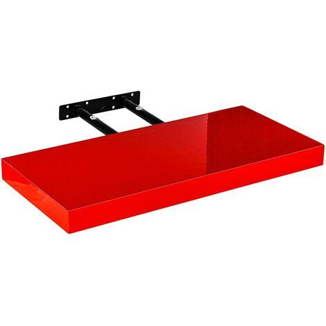 Étagère murale STILISTA® Volato, étagère flottante, longueur 80 cm, épaisseur 3,8cm, testée sans substances nocives, couleur rouge brillant