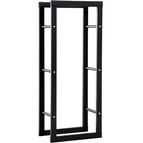 Etagère porte bois de cheminée porte-bûches design contemporain charge max. 100 Kg dim. 40L x 25l x 100H cm métal noir
