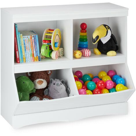 étagère pour enfants pour jouets, 72 x 80 x 40 cm, 4 compartiments, filles et garçons, meuble jeux, blanc