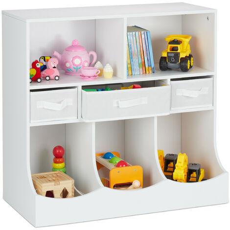 étagère pour enfants pour jouets et livres, HLP : 75 x 80 x 40 cm, 8 compartiments, filles et garçons, meuble jeux, blanc