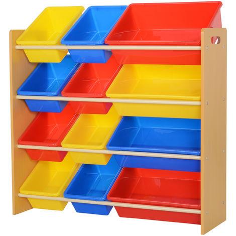 Étagère pour jouets enfants meuble de rangement 12 casiers plastique amovibles inclus cadre MDF ...