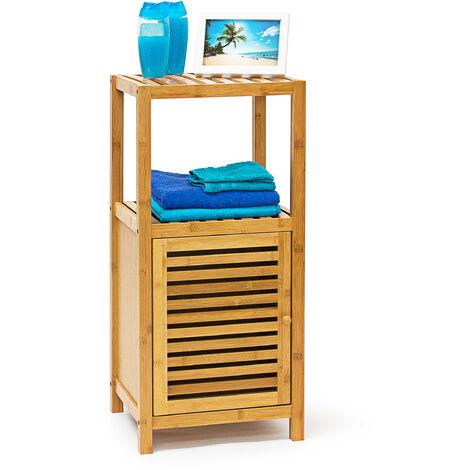 Étagère pour salle de bain cuisine Porte refermable bois de bambou 3 étages Plateaux Meuble rangement serviette produit beauté cosmétique HxlxP 80 x 36,5 x 33 cm, couleur naturelle