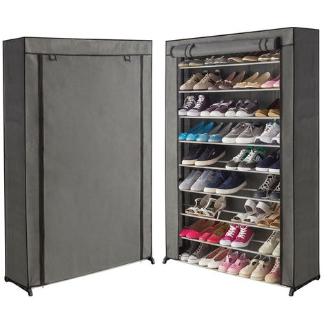 Étagère range chaussures 50 paires housse grise