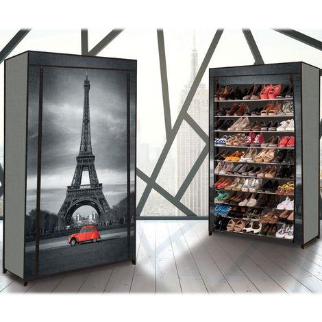 Etagere Range Chaussures 50 Paires Housse Imprime Paris 13069