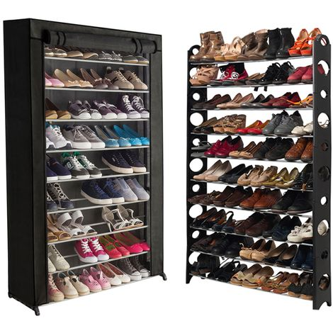 Etagère range chaussures 50 paires modulable+housse noire