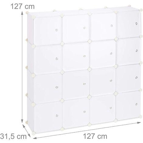 Étagère rangement 16 casiers portes modulable assemblage plug in bibliothèque plastique 127 cm blanc - Blanc