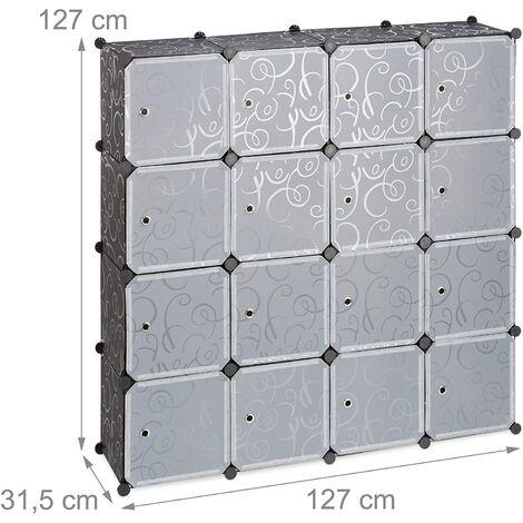 Étagère rangement 16 casiers portes modulable assemblage plug in bibliothèque plastique 127 cm noir - Noir