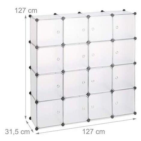 Étagère rangement 16 casiers portes modulable assemblage plug in bibliothèque plastique 127 cm transparent - Or